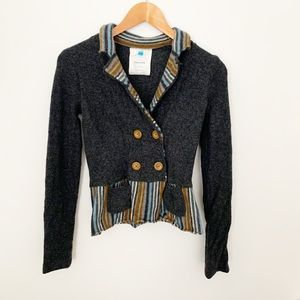 Anthropologie Sparrow gray and striped wool blazer